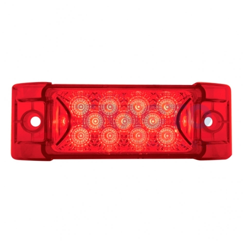 13 LED Reflector rectangular Clearance / Marker Light - LED rojo / lente roja
